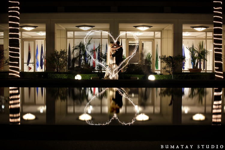 Nixon Library Wedding Picture Light Painting
